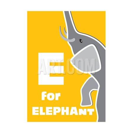 Alphabet Elephant (E For The Elephant, An Animal Alphabet For The Children Print Wall Art By Elizabeta Lexa)