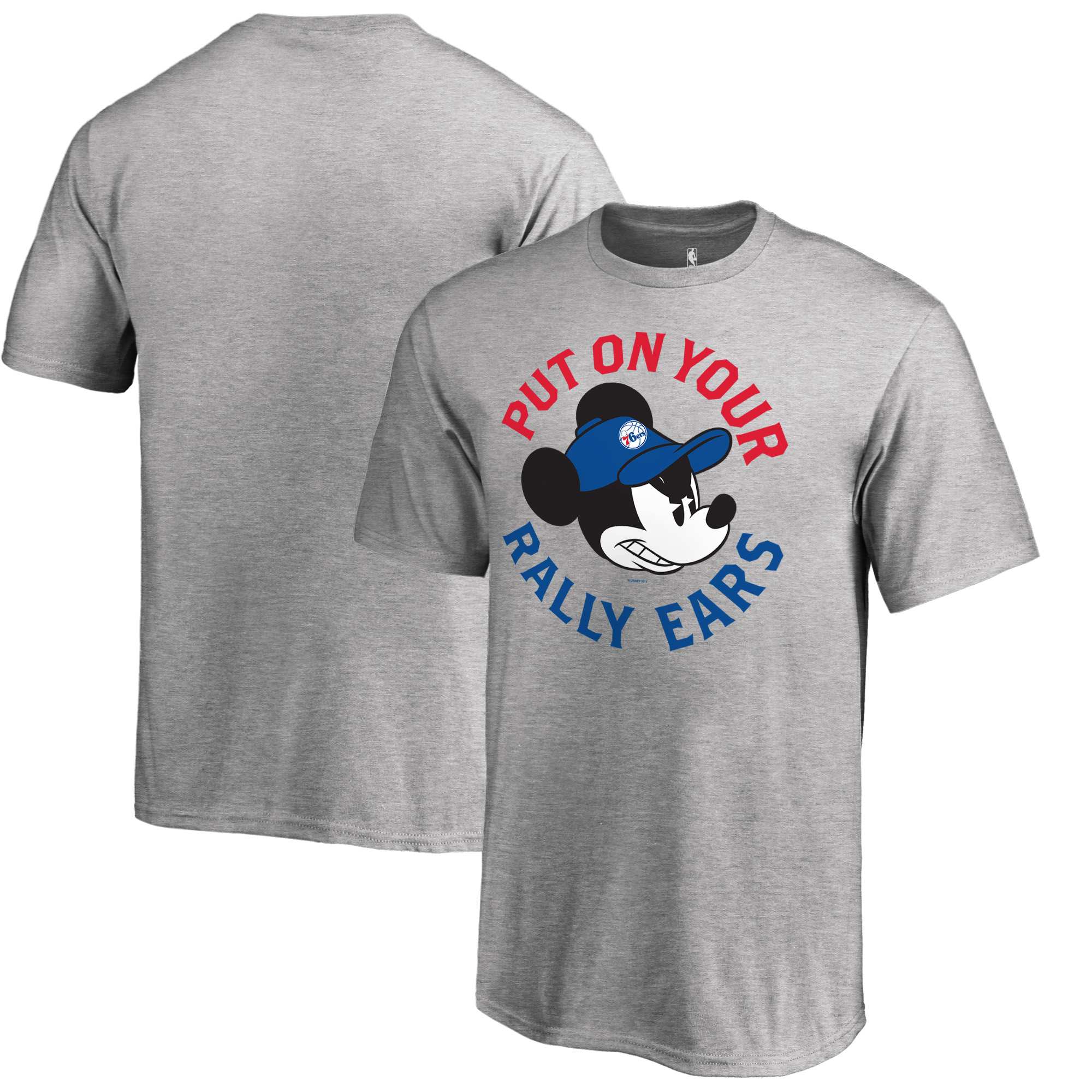 Philadelphia 76ers Fanatics Branded Youth Disney Rally Ears T-Shirt - Ash