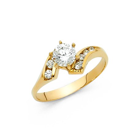 Round CZ Engagement Ring 14k Yellow Gold Anniversary CZ Solitaire Band Channel Set Side (Channel Solitaire)