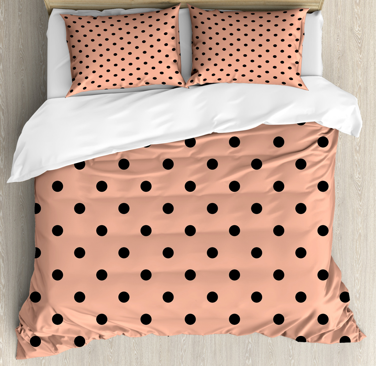 peach king size duvet cover set traditional black polka dots on soft colored background abstract european design decorative 3 piece bedding set with 2 pillow shams peach black by ambesonne walmart com walmart com