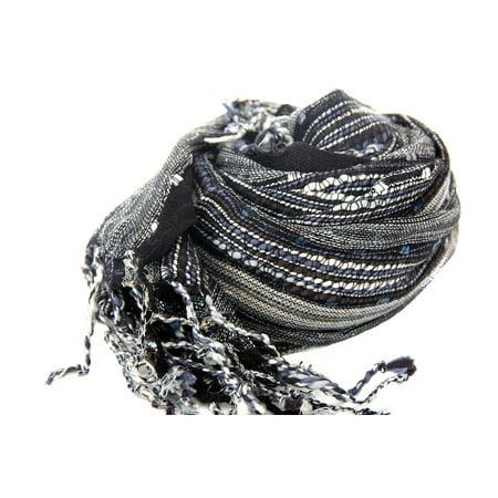 Women's Layered Knit Open Weave Scarf in Black/Multi Black Scarf Wrap 20 x 72