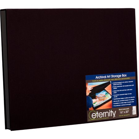 HG Concepts Art Photo Storage Box Eternity Archival Clamshell Box For Storing Artwork, Photos & Documents Deluxe Acid-Free Sturdy & Lined With Archival Paper (Black Photo Box)