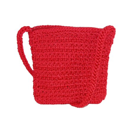 Red Leather Clutch Bag (Size one size Women's Crochet Crossbody Handbag,)