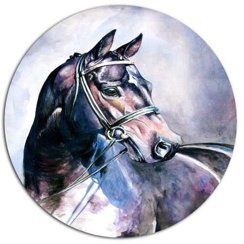 Design Art 'Black Horse with Bridle' Oil Painting Print on Metal