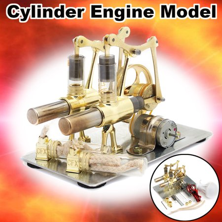 Mini Double Cylinder Hot Air Stirling Engine Model Motor Power Toy With LED Light 160x87x110mm For Adults
