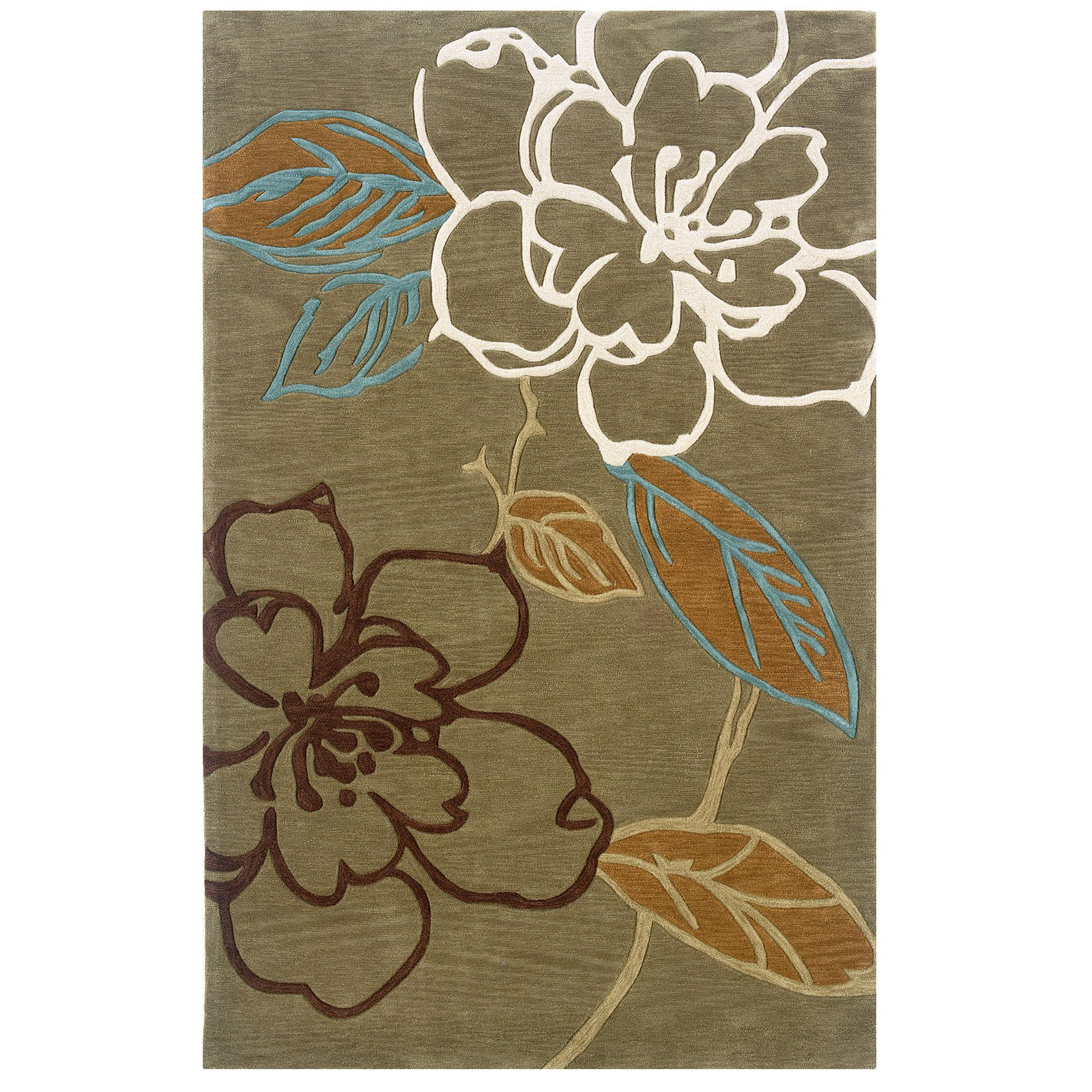 Linon Trio Space Dyed Floral Area Rug