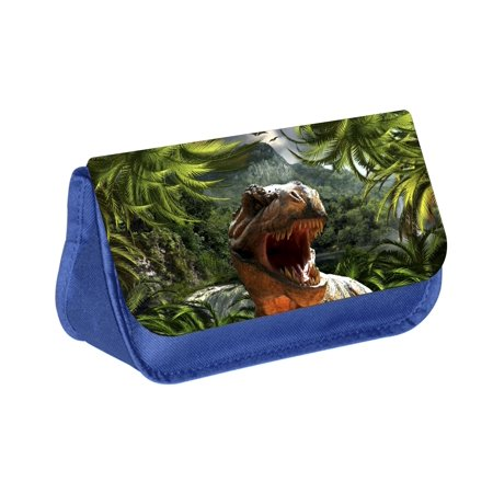 - T-Rex Dinosaur - Boys Blue Pencil Case with 2 Zippered Pockets and Velcro Closure