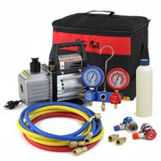XtremepowerUS 3CFM Vacuum Pump HVAC Refrigeration AC Manifold Gauge r134 r12 Leak Detector with Carrying Tote