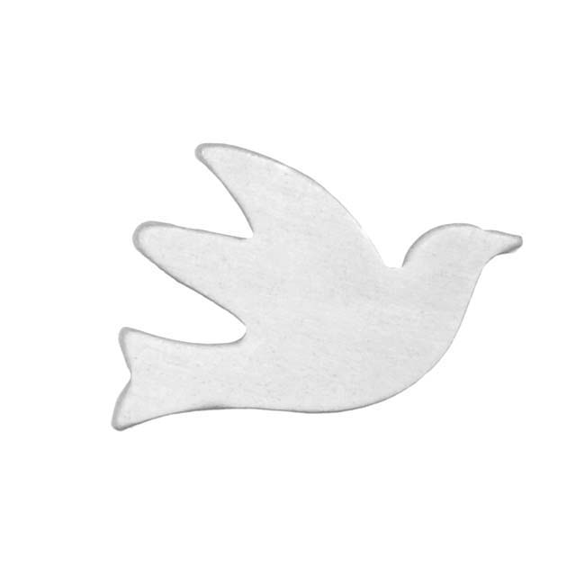 Sterling Silver Blank Stampings No Hole Dove Bird 16mm (2)