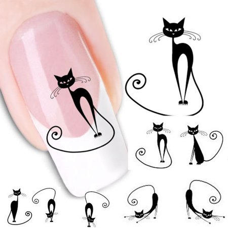 Cat Water Transfer Slide Decal Sticker Nail Art Tips To Decor XF1442 - Easy Halloween Cat Nail Art