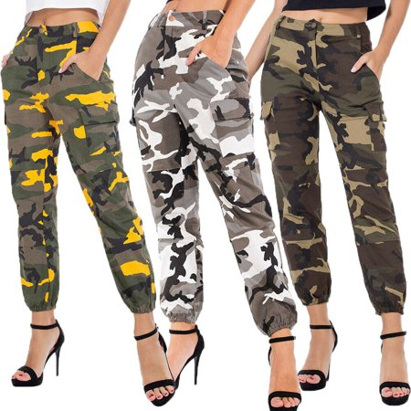 Camouflage Pants Trousers (Multitrust Women's Soild Cargo Trousers Casual Pants Military Army Combat Camouflage Pants)