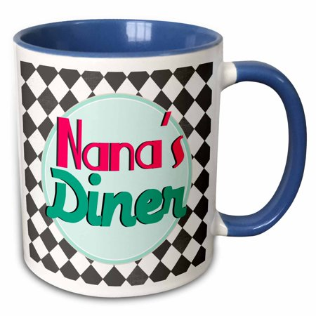 3dRose Nanas Diner sign on black - Retro hot pink turquoise teal blue 1950s 50s fifties Grandmas kitchen - Two Tone Blue Mug, 11-ounce](50s Diner Girl)