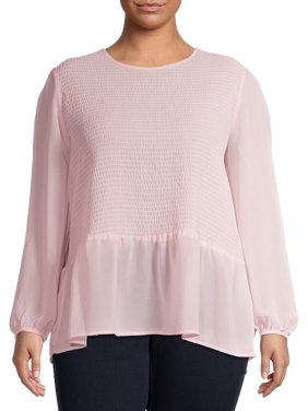 Terra & Sky Women's Plus Size Long Sleeve Smocked Bodice Top