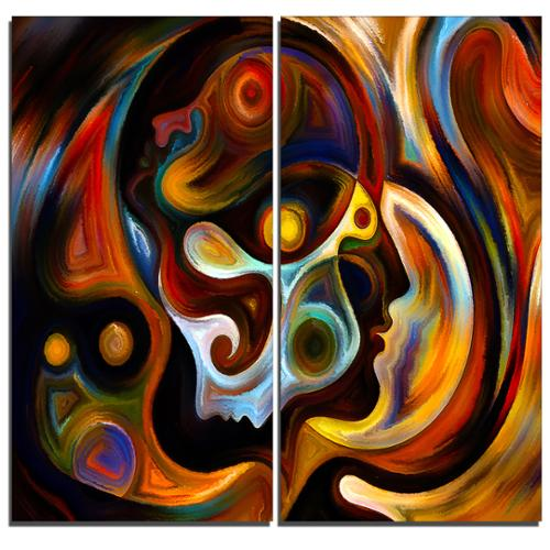 DESIGN ART Designart Perspectives of Inner Paint -2 Pieces Abstract Canvas Artwork by Overstock