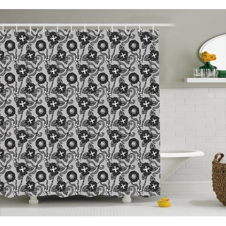 Gothic Shower Curtain, Needlecraft Theme Classical Monochrome Gentle Flowers Vintage Garden Bridal Pattern, Fabric Bathroom Set with Hooks, 69W X 70L Inches, Black White, by Ambesonne