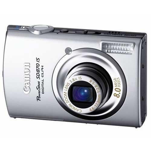 Canon PowerShot SD870IS 8MP Digital Camera with 3.8x Wide Angle Optical Image Stabilized Zoom (Silver)