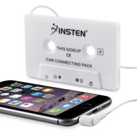 Insten Universal Car Audio Cassette Adapter, White For Apple iPad Mini 5 iPad Air 2019 iPhone 6 6s Samsung Galaxy S10 S10+ S9 S9+ Plus S8 S7 Note 5 4 LG K20 Plus K8v K7 Stylo 3 G4 G3 HTC One M7 M8 M9
