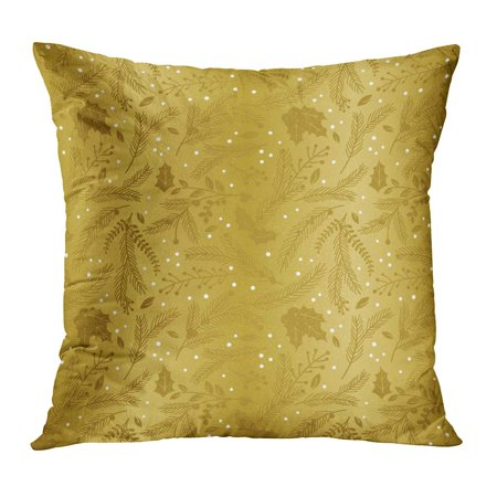 ECCOT Poinsettia Pattern of Faux Gold Foil Christmas Holiday Florals Antique Berries Blueberries Branch Bunting Pillowcase Pillow Cover Cushion Case 18x18 inch ()