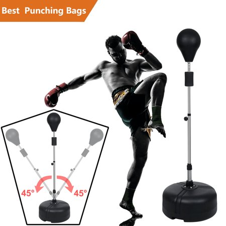 FITNESS MANIAC Reflex Bag Freestanding Punching Bag with Stand Heavy Speed Ball Boxing Release Fitness Trainer Adjustable Height 56.2-60.8