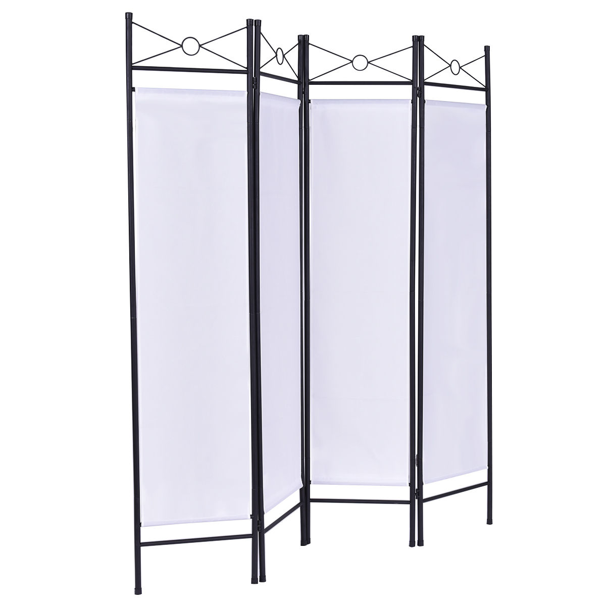 Costway White 4 Panel Room Divider Privacy Screen Home Office Fabric ...