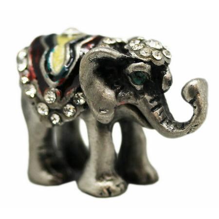 Pewter Mini Elephant w/Decorative Headdress Keepsake Figure -