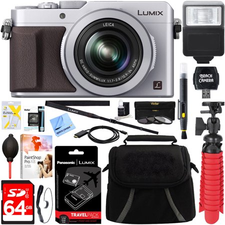 Panasonic LUMIX LX100 Integrated Leica DC Lens Silver Camera + DMW-BLG10 & DMW-BTC9 Battery/Charger Pack + 64GB SDXC Memory Card + Gadget Bag + 43mm Deluxe Filter Kit + Microfiber Cloth +