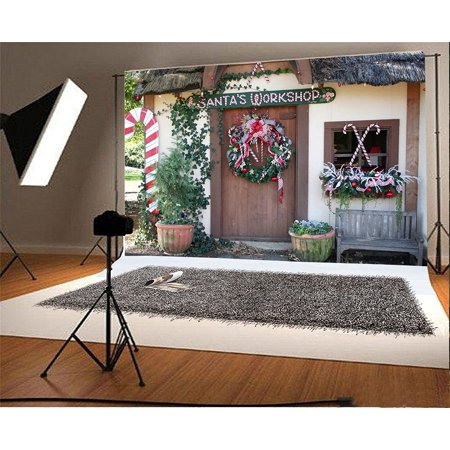 HelloDecor Polyster 7x5ft Christmas Backdrop Front Door Xmas Garland Decoration Photography Background Santa's Workshop Kid Girl Boy Artistic Portrait Photo Shoot Studio Props Video Drop