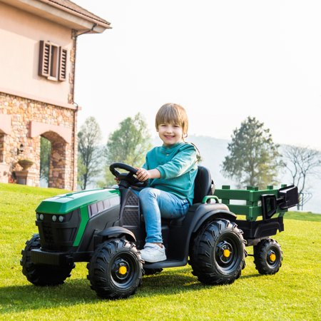 Ktaxon Kids Tractor Ride-On Car 12V Rechargeable Battery Agricultural Vehicle with Rear Bucket Green