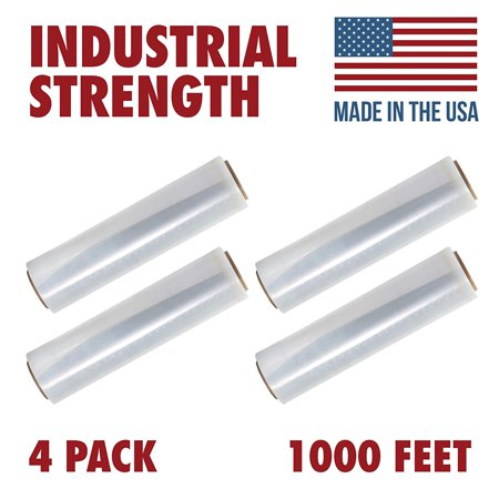 18 X 1000 Tough Pallet Shrink Wrap, 80 Gauge Industrial Strength Plastic Film, Commercial Grade Strength Film, Moving & Stretch Packing Wrap, For Furniture, Boxes, Pallets (4-Pack) ()