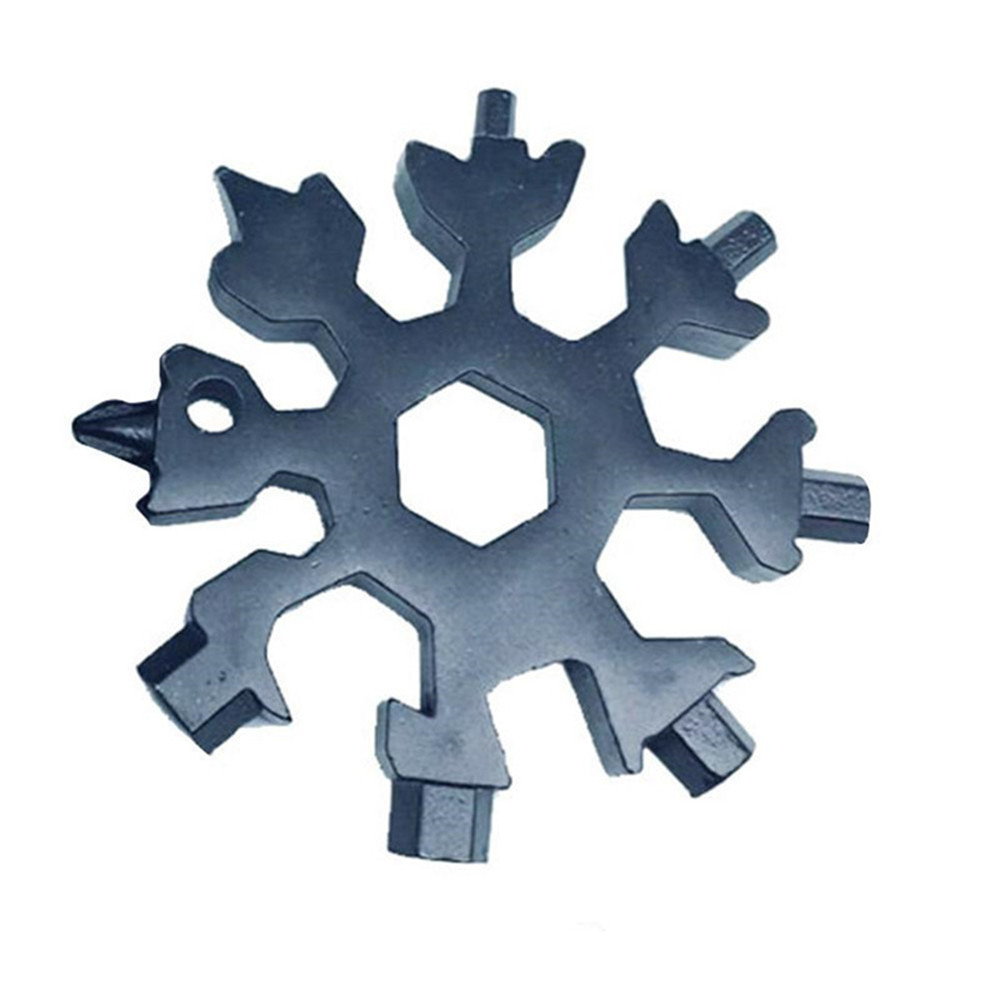 Black 18-in-1 Multi-Tool Card Combination Compact Portable Outdoor Products Snowflake Tool Card