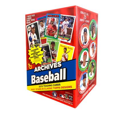 1993 Topps Card - 2019 Topps Archives Baseball Value Box- 7 Packs + 1 Bonus Pack | 2 Topps Collectible Coins |1957, 1975 & 1993 Designs