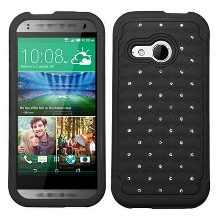 Insten Black/Black Hybrid Hard Shockproof Spot Diamond Bling Premium Case Skin Cover For HTC One M8 mini - image 2 de 2
