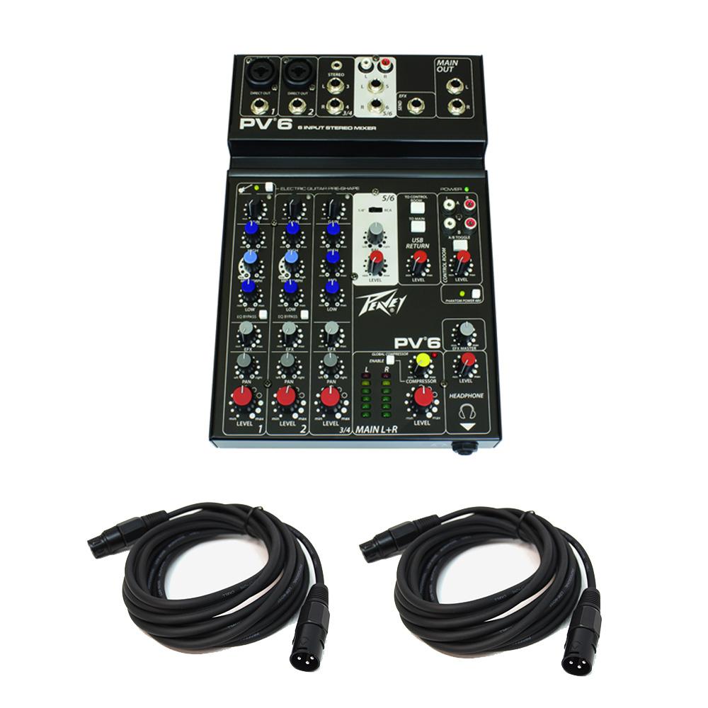 Peavey PV6 New Pro Audio DJ Live Sound Studio 6 Channel Slim Mixer (2) XLR Cables