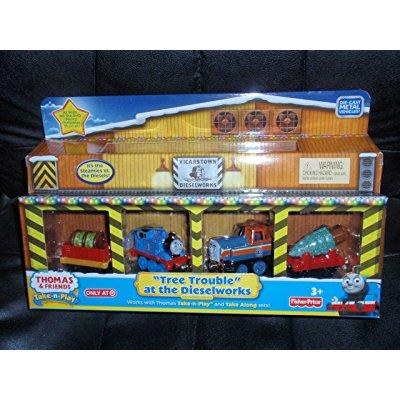 Thomas and Friends take-n-play Christmas Holiday Tree Trouble at the Dieselworks by