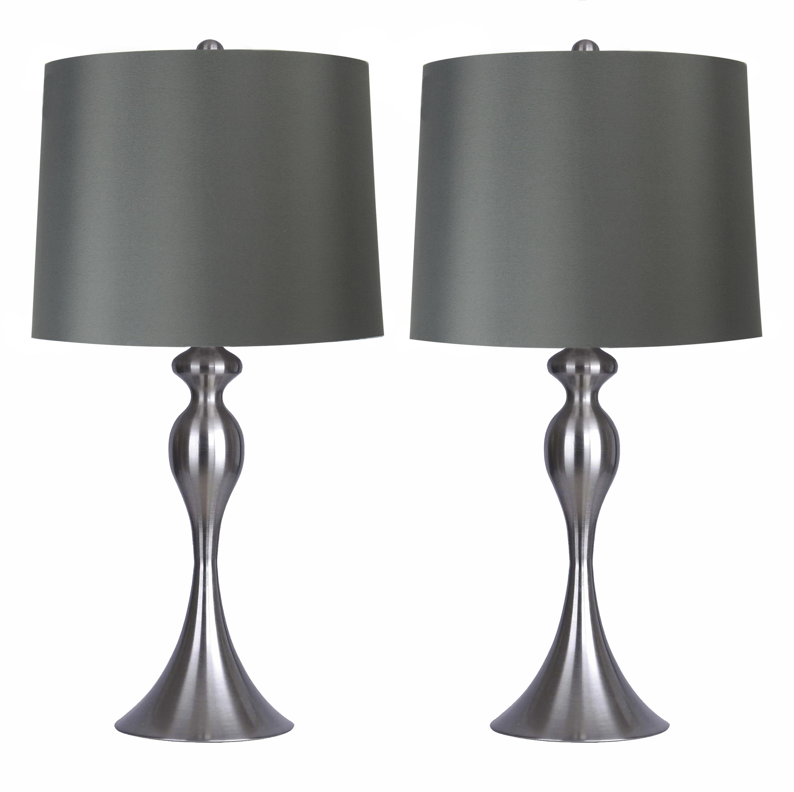 "Grandview Gallery Table Lamps with Dark Grey Lamp Shade, Set of 2 - Brushed Nickel Body with Linen Shade, 26.5"" for Bedrooms, Dressers, Buffets and More"