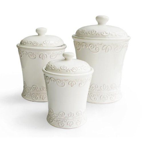 Jay Import Bianca Scroll White Set of 3 Canisters