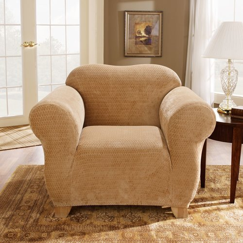 Sure Fit Stretch Royal Diamond 2-Piece - Chair Slipcover - Chocolate (SF36768)