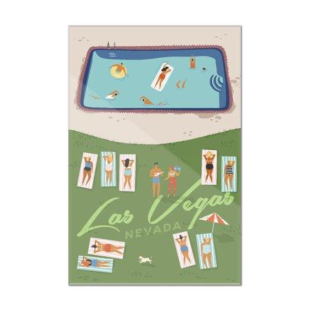 - Las Vegas, Nevada - Aerial Pool Scene & Lawn - Lantern Press Artwork (8x12 Acrylic Wall Sign)