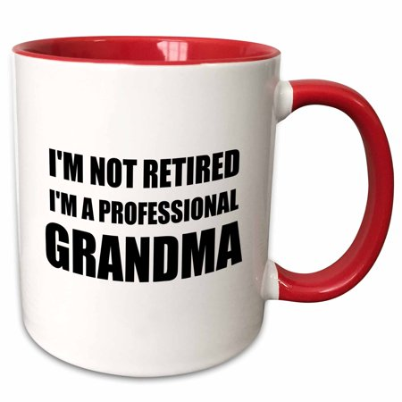 3dRose Im not Retired Im a Professional Grandma - funny grandmother gift - Two Tone Red Mug, 11-ounce
