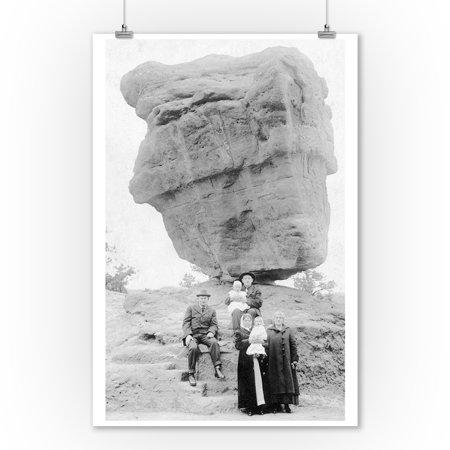 - Colorado Springs, Colorado - Family Posing by Balanced Rock in Garden of Gods Photograph (9x12 Art Print, Wall Decor Travel Poster)