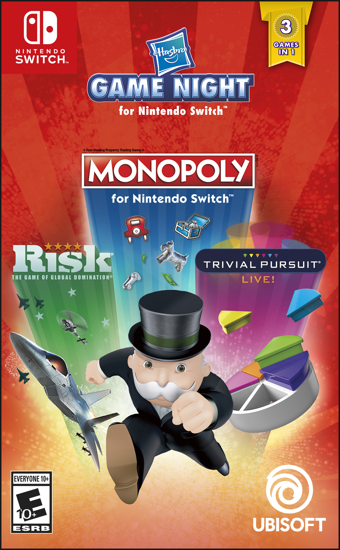 Hasbro Game Night: Monopoly, Risk, Trivial Pursuit, Ubisoft, Nintendo Switch, 887256037444