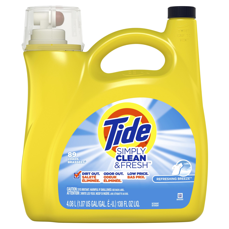 Tide Simply Clean & Fresh Liquid Laundry Detergent, Refreshing Breeze, 89 Loads 138 fl oz