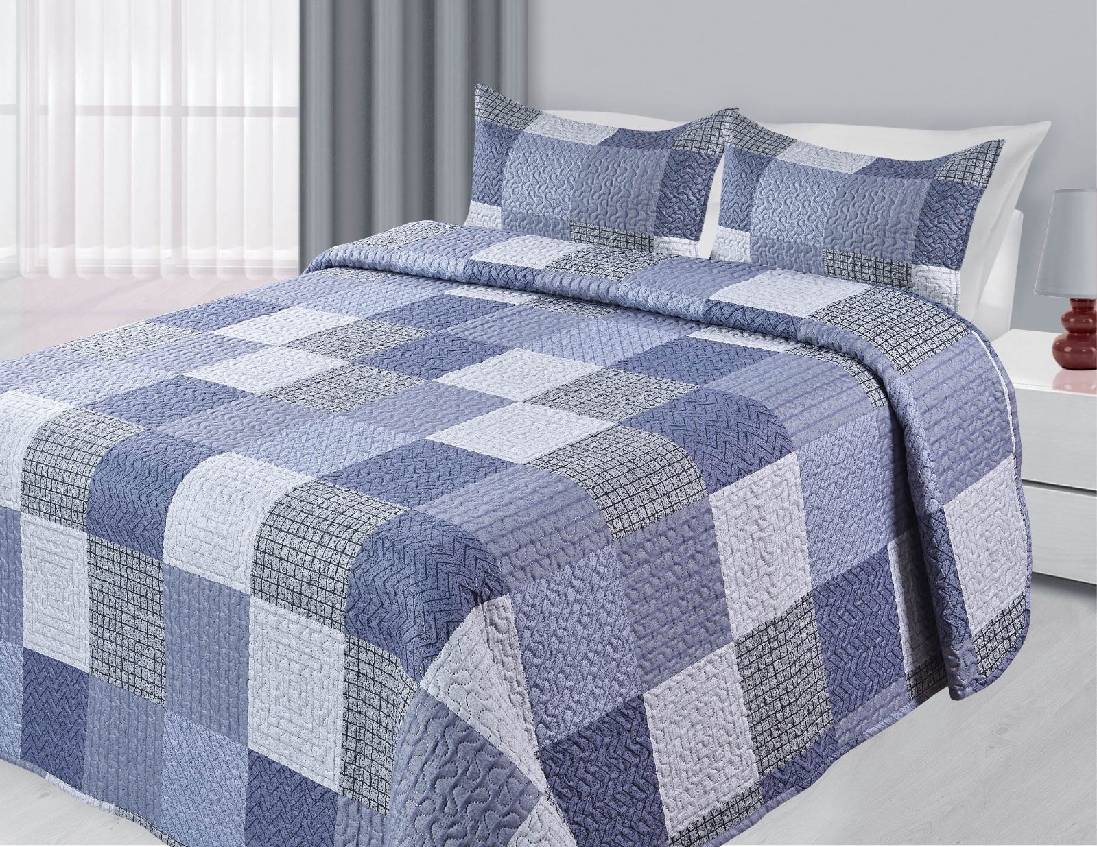 3-Piece Reversible Quilted Printed Bedspread Coverlet Blue Patchwork Queen Size by