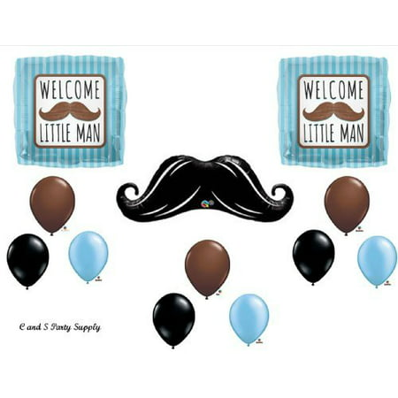 WELCOME LITTLE MAN MUSTACHE BABY SHOWER Balloons Decorations Supplies....12 pieces! (Little Man Baby Shower Decorations)