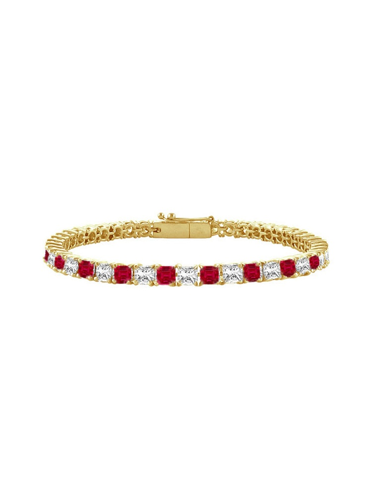 Created Ruby and Cubic Zirconia Tennis Bracelet with 3.00 CT TGW on 14K Yellow Gold by Love Bright