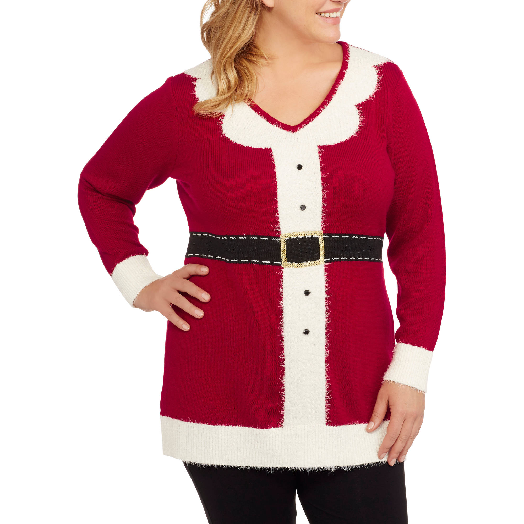 Holiday Women's Plus Mrs. Claus Tunic Christmas Sweater