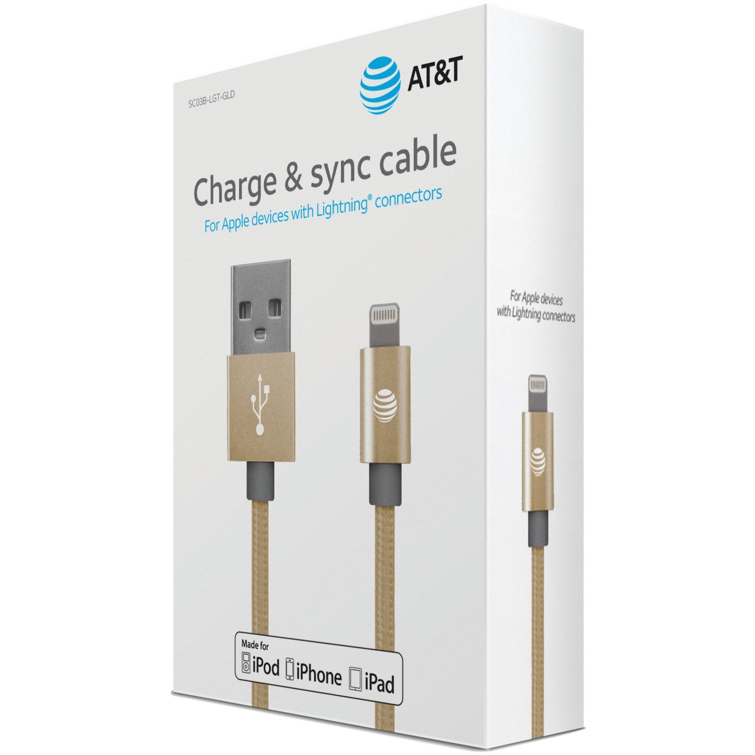 AT&T SC03B-LGT-GLD Charge & Sync Braided USB to Lightning Cable, 4ft (Gold)