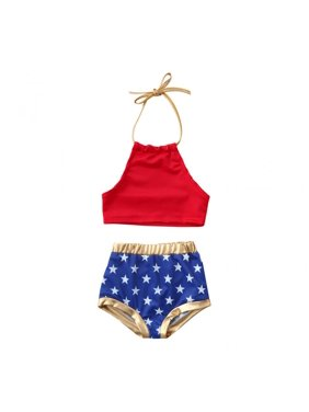 ecde5757fb Free shipping. Product Image Kids Baby Girl Summer Bikini Set Sling  Backless Swimwear Swimsuit Bathing Suit