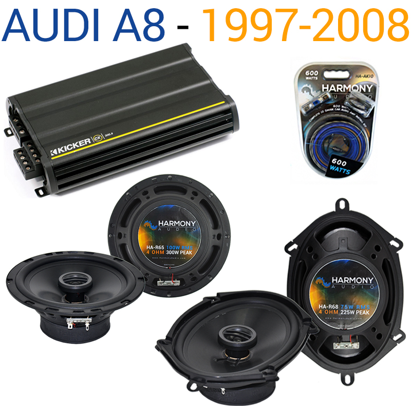 Audi A8 1997-2008 Factory Speaker Replacement Harmony R5 R65 & CX300.4 Amp - Factory Certified Refurbished