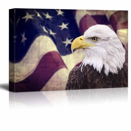 Canvas Prints Wall Art - Bald Eagle with the American Flag |Patriotic Theme Modern Wall Decor/ Home Decor Stretched Gallery Canvas Wrap Giclee Print & Ready to Hang - 16